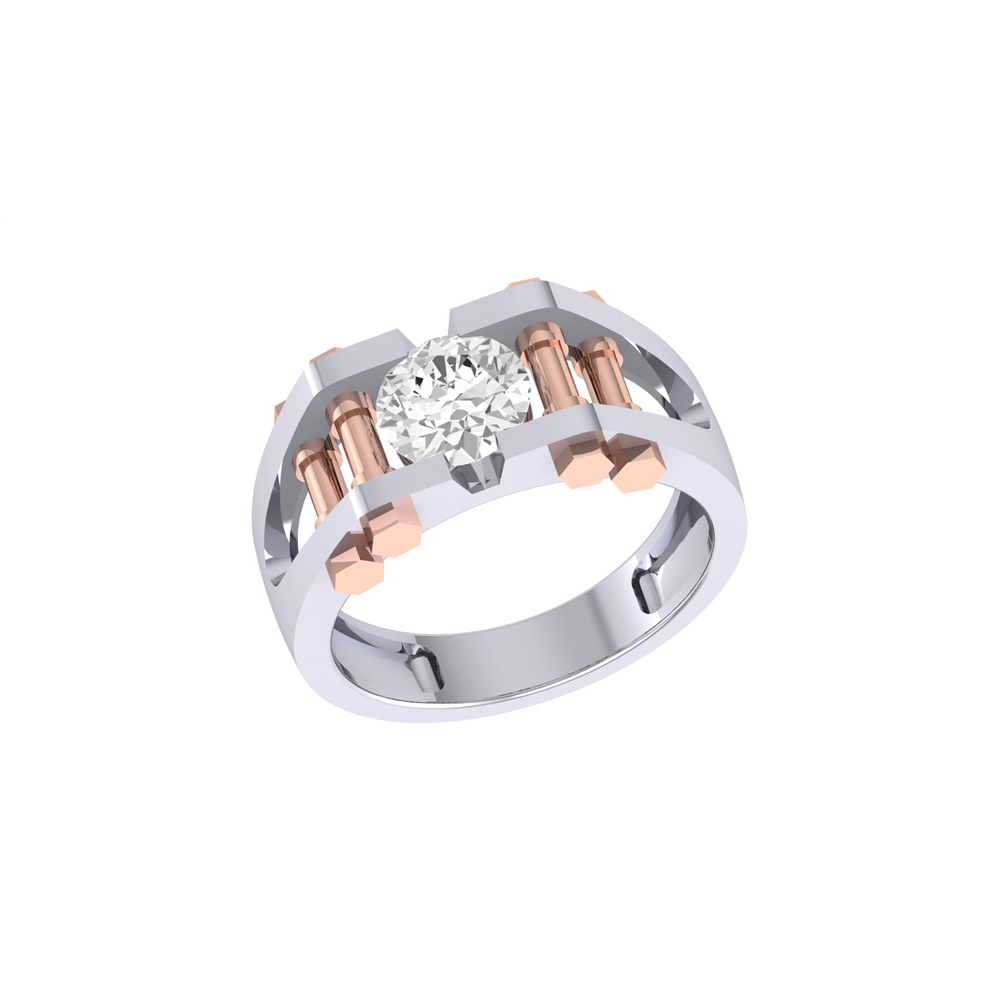 Two Platinum: Platinum And Rose Gold Two Tone Ring For Men